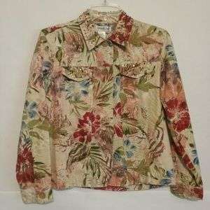 Coldwater Creek Floral Beaded Jacket PS